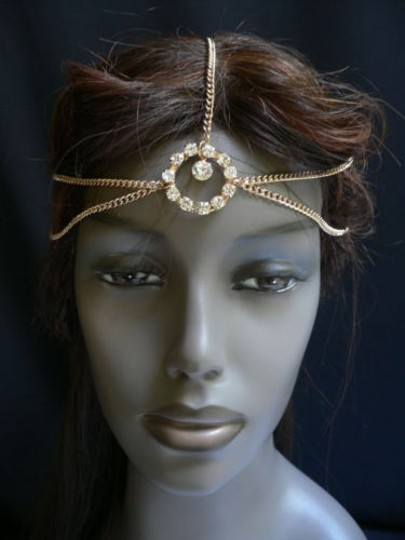 Other Women Head Chain Fashion Gold Metal Jewelry Circlet Center Ring Rhinestones