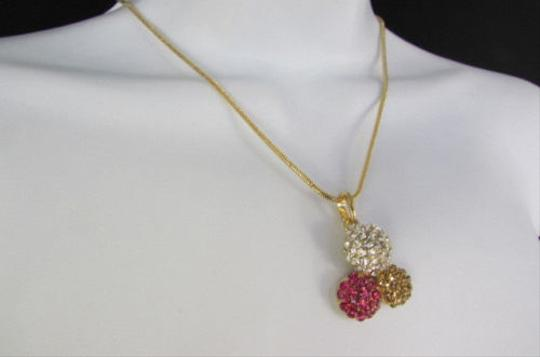 Other Women Short Fashion Necklace Metal Balls Silver Gold Rhinestones Pendant
