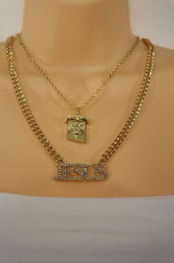 Other Women Gold Metal Chain Jesus Christ Pendant Fashion Necklace Jewelry Cross