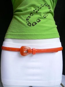 Other Women Belt Trendy Skinny Orange Thin Faux Leather Buckle 28-37