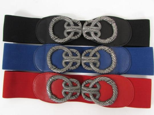 Other Women Faux Leather Western Fashion Belt Red Black Blue Silver Metal Buckle