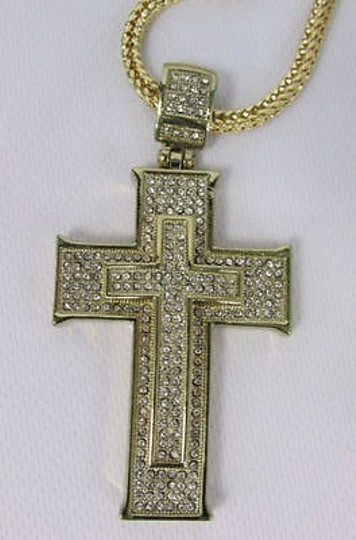 Other Men Necklace Metal Chains Long Fashion Silver Gold Big Steel Cross Pendant