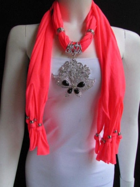 Women Bright Coral Soft Fashion Scarf Necklace Silver Flowers Butterfly Pendant Women Bright Coral Soft Fashion Scarf Necklace Silver Flowers Butterfly Pendant Image 1