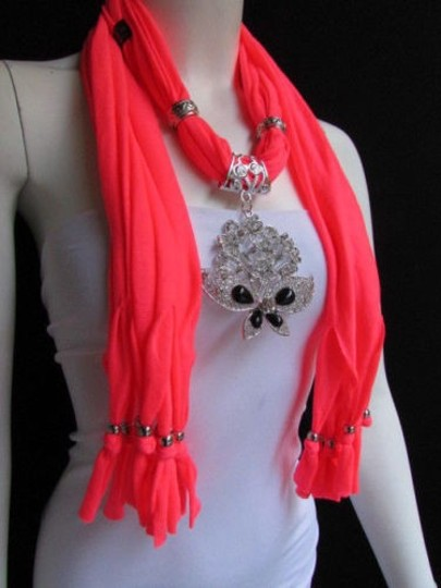 Other Women Bright Coral Soft Fashion Scarf Necklace Silver Flowers Butterfly Pendant