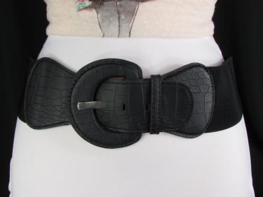 Other Women Fashion Elastic Belt Black Brown Hip High Waist Snake Stamp