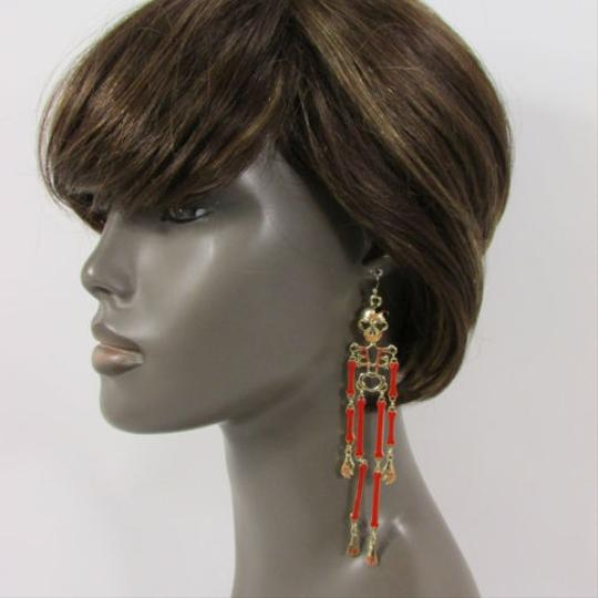 Other Women 5 Long Gold Red White Pewter Chain Skeleton Fashion Hook Earrings