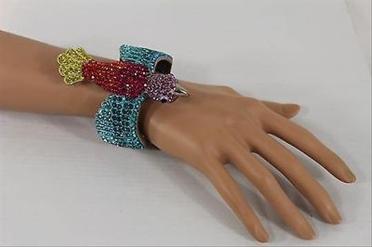 Other Women Silver Bird Bracelet Metal Fashion Purple Teal Colorful Rhinestones