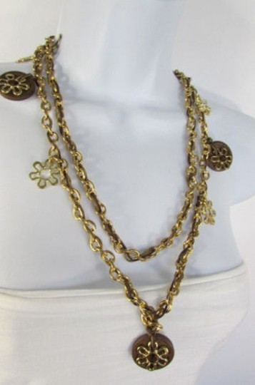 Other Women Necklace Fashion Gold Metal Chains Flowers Round Brown Wood Charms