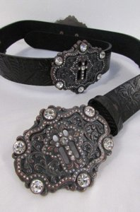 Other A Women Black Genuine Leather Western Fashion Belt Six Big Metal Cross Buckles