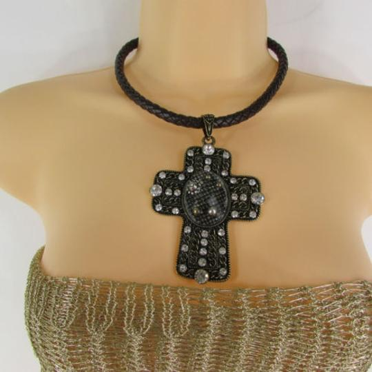 Other Women Necklace Fashion Brown Rope Gold Metal Cross Rhinestones Earring