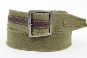 Aéropostale Aeropostale Men Women Army Green Fabric Fashion Belt Silver Buckle