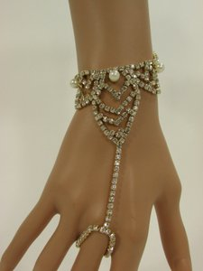 Other Women Gold Metal Hand Chain Fashion Bracelet Slave Silver Beads Elastic Ring