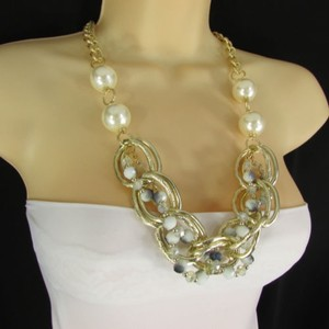 Women Necklace Fashion Gold Metal Chunky Chain Links Imitation Pearls Beads