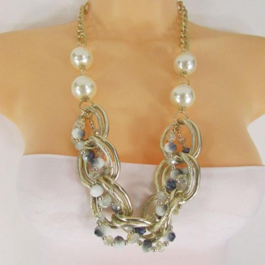 Other Women Necklace Fashion Gold Metal Chunky Chain Links Imitation Pearls Beads