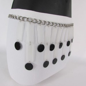 Women Belt Silver Chain Black Circles Long White Skirt Piano 25-37