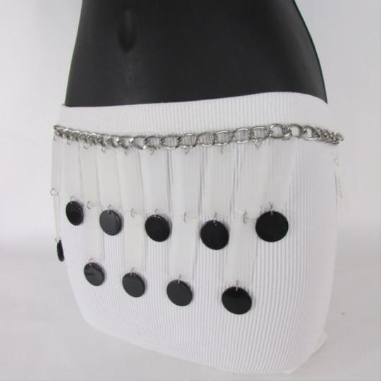 Other Women Belt Silver Chain Black Circles Long White Skirt Piano 25-37