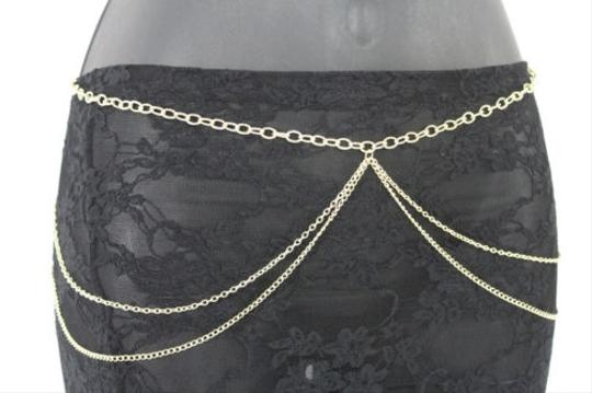Other Women Hip Waist Gold Wide Full Web Thin Metal Chain Fashion Belt Bling