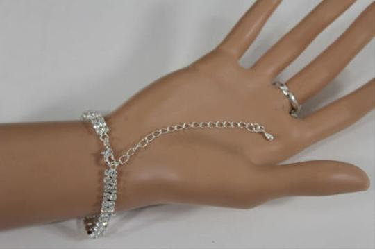 Other Women Silver Metal Hand Chain Fashion Bracelet Slave Ring Big Drops Bangle