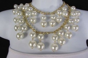 Women Necklace 16 Long Double Gold Metal Chains Strands Big Pearl Beads
