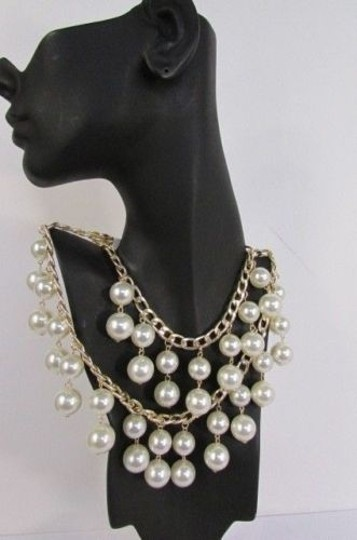 Other Women Necklace 16 Long Double Gold Metal Chains Strands Big Pearl Beads