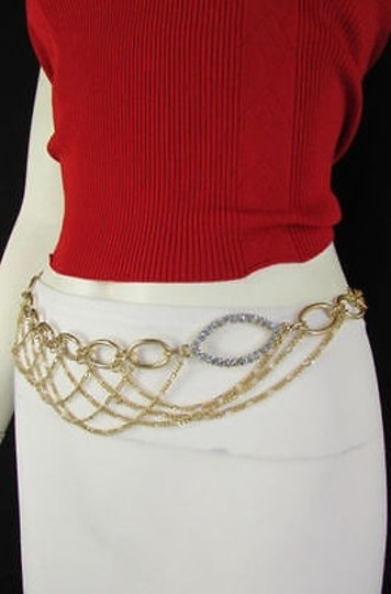 Other Women Hip Waist Gold Wide Full Wave Metal Chain Fashion Belt Bling Beads