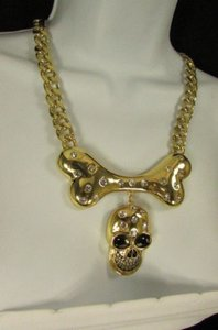 Other Women Necklace Fashion Gold Metal Chain Big Bone Skull Silver Rhinestones