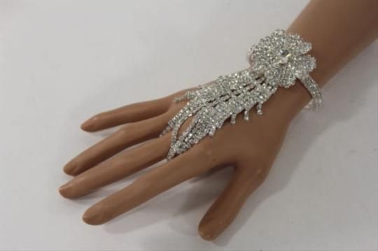 Other Women Silver Metal Hand Chain Fashion Bracelet Slave Flower Wedding Bangle