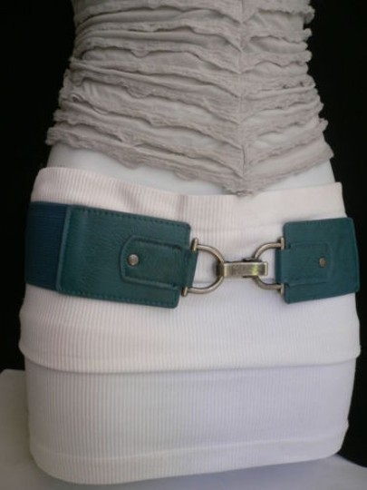 Other Women Hip Waist Elastic Blue Wide Fashion Belt Clips Buckle 27-38 S-l