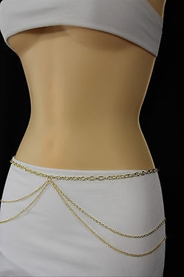 Other Women Belt Hip Waist Gold Wide Full Metal Thin Chain Wave Fashion Bling