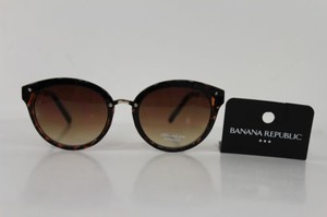 Banana Republic Banana Republic Men Women Fashion Sunglass Gold Metal Frame Brown Round Lens
