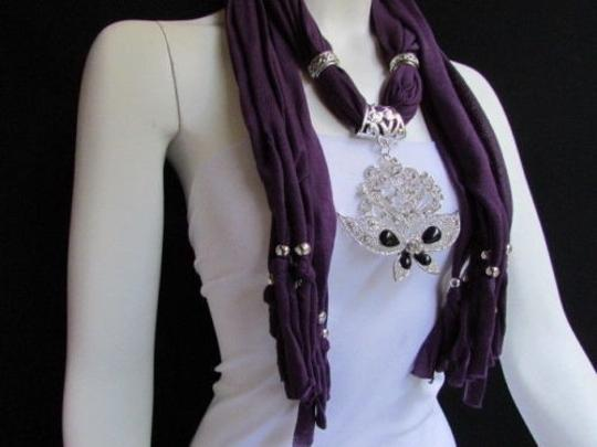 Other Women Soft Purple Fabric Fashion Scarf Necklace Silver Flowers Butterfly Pendant