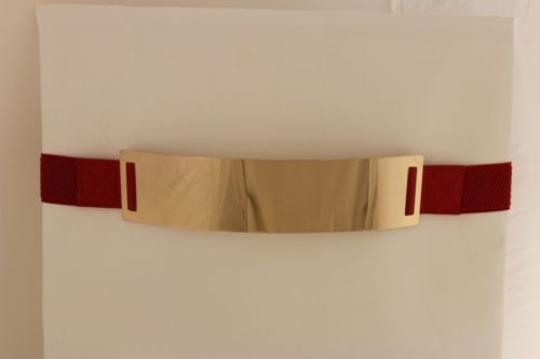 Other Women Elastic Belt Red High Waist Hip Gold Metal Mirror Plate Fashion Plus