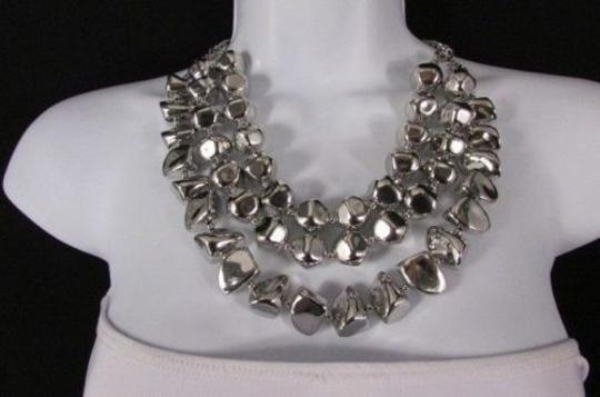 Other Women 20 Long Shiny Silver Plastic Beads Strands Fashion Necklace Earring