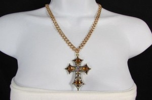 Other Women Necklace Fashion Gold Metal Chain Roman Cross Brown Rhinestone Pendant