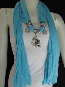 Other Women Fabric Fashion Baby Blue Scarf Necklace Silver Flying Butterfly Pendant