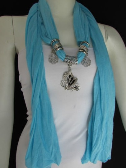 Preload https://item3.tradesy.com/images/women-fabric-fashion-baby-blue-scarf-necklace-silver-flying-butterfly-pendant-4284607-0-0.jpg?width=440&height=440