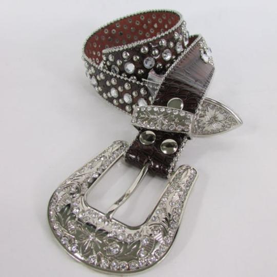 Other Women Belt Brown Leather Western Fashion Rhinestones Big Buckle