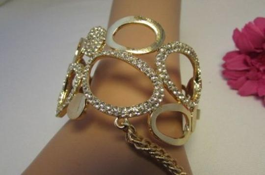 Other Women Gold Metal Hand Chain Fashion Bracelet Slave Ring Silver Rhinestones