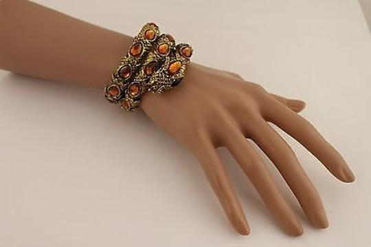 Other Women Gold Snake Bracelet Wrap Around Metal Amrlet Fashion Brown Rhinestones