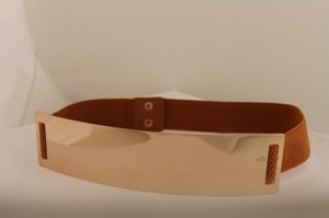 Women Elastic Belt Light Brown High Waist Hip Gold Metal Plate Fashion