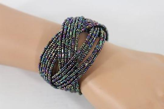Other Women Purple Blue Green Beaded Bracelet Bangle Metal Stretch Cuff Fashion