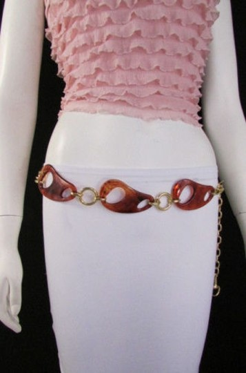 Other Women Big Brown Gold Silver Chains Fashion Belt Hip High Waist Sm Ml