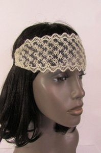 Other Women Elastic Fabric Fashion Headband Mini Flowers Beige Black Lace Fabric