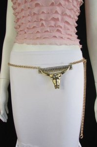 Other Women Belt Western Bull Head Gold Metal Thin Chains Texas Fashion