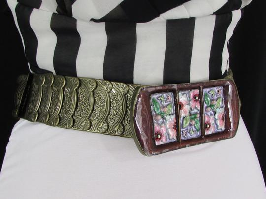 Other Women Hip High Waist Gold Elastic Wide Metal Fashion Belt Painted Flowers Buckle