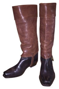 Juicy Couture Leather Studded Equestrian Coach Frye Low Heel Dark Brown and Rustic Boots
