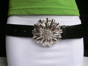 Other Women Belt Black Big Silver Flower Rhinestones Buckle Plus 35-40 Lxl