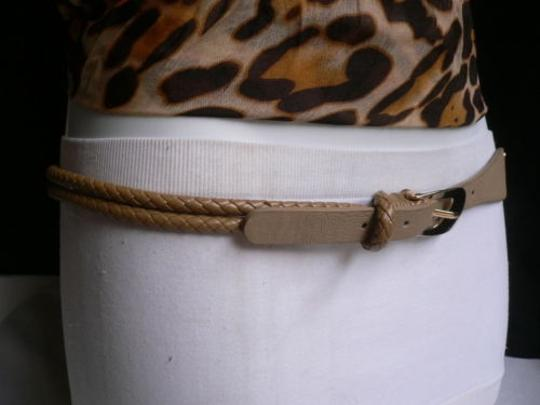 Other Belt Narrow Skinny Women Beige Fashion Braided Gold Buckle Faux Leather