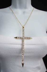 Other Women Necklace Gold Silver Fashion Metal Chain Big Cross Pendant Rhinestones