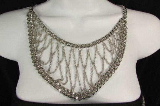 Other Women Necklace Fashion Thick Silver Chunky Metal Multi Chains 16 Drop